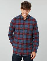 Buchanan Long Sleeve Classic Fit Peached Poplin Shirt in Red and Blue