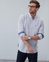 Abbott Long Sleeve Classic Fit Peached Poplin Shirt in White