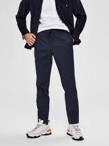 Slim Tapered Drawstring Waist Trousers in Navy