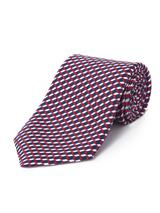 Silk Square Geo Printed Tie in Red