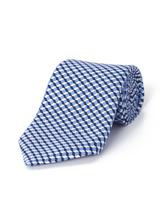 Silk Square Geo Printed Tie in Blue