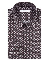 Diamond Deco Printed Cotton Shirt in Red and White