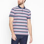 Pink Striped Polo Shirt in Pink and Navy