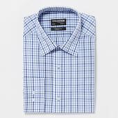 Blue Easy Iron Gingham Long Sleeve Classic Fit Shirt in Blue