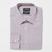 Pink Non Iron Checked Cotton Long Sleeve Classic Fit Shirt in Pink
