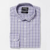 Lilac Non Iron Check Cotton Long Sleeve Slim Fit Shirt in Purple