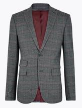 Checked Slim Fit Jacket in Navy