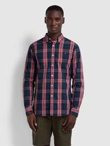 Brewer Slim Fit Tartan Oxford Shirt In Dusty Rose in Pink and Navy