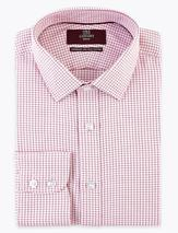 Regular Fit Pure Cotton Check Shirt in Pink