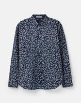 Invitation Classic Fit Long Sleeve Printed Shirt in Navy