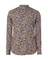 Long Sleeve Painted Floral Print Shirt in Multicoloured