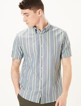 Pure Cotton Striped Oxford Shirt in Green and Blue