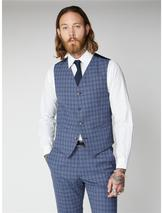 Blue Check Waistcoat in Blue