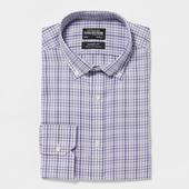 Lilac Checked Non Iron Extra Long Sleeve and Body Classic Fit Shirt in Purple