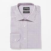 Pink Non Iron Grid Check Cotton Extra Long Sleeve and Body Classic Fit Shirt in Pink