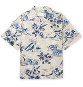 Camp-Collar Printed Cotton Shirt in White and Blue