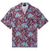 Camp-Collar Printed Satin Shirt in Red and Blue