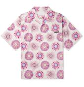 Camp-Collar Printed Cotton-Poplin Shirt in Pink