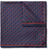 Printed Silk-Twill Pocket Square in Blue