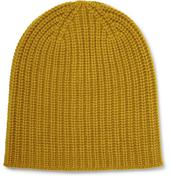 Ribbed Cashmere Beanie in Yellow
