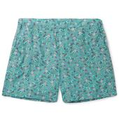 Mid-Length Printed Cotton Swim Shorts in Blue
