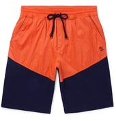 Colour-Block Nylon and Mélange Cotton-Blend Jersey Drawstring Shorts in Orange and Navy