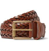 3.5cm Woven Leather Belt in Brown