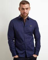 Long Sleeve Slim Fit Poplin Shirt in Navy