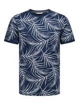 Slim Fit Short Sleeve Printed Tee in Navy