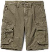 Washed Cotton and Linen-Blend Cargo Shorts in Green