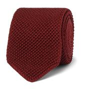 6.5cm Knitted Silk Tie in Red