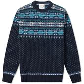 Jamieson's of Shetland Nordic Fair Isle Crew Knit in Navy