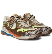 Ultrapace Distressed Suede, Mesh and Snake-Effect Leather Sneakers in Brown and Neutral