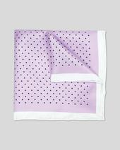 Classic Printed Spot Pocket Square - Lilac & Navy in Purple