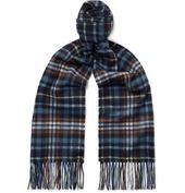 Fringed Checked Cashmere Scarf in Navy