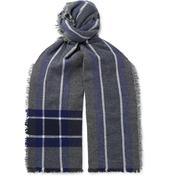 Beaufort Fringed Checked Wool and Cashmere-Blend Scarf in Grey