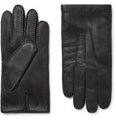 Shaftesbury Touchscreen Cashmere-Lined Leather Gloves in Black