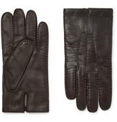 Shaftesbury Touchscreen Cashmere-Lined Leather Gloves in Brown