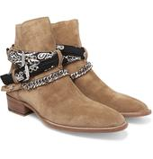 Embellished Suede Jodhpur Boots in Neutral