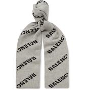 Logo-Jacquard Virgin Wool and Camel Hair-Blend Scarf in Black and Grey