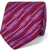 7.5cm Striped Silk-Jacquard Tie in Red