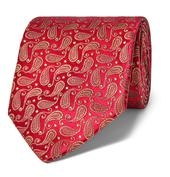 8.5cm Paisley Silk-Jacquard Tie in Metallic and Red