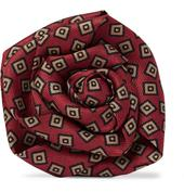 Printed Silk-Faille Flower Lapel Pin in Red
