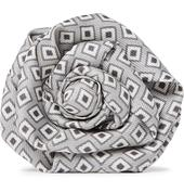 Printed Silk-Faille Flower Lapel Pin in Grey