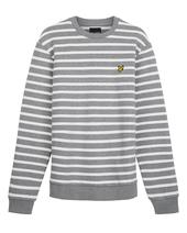 Breton Stripe Sweatshirt in White and Grey