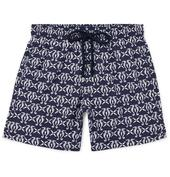 Moorea Mid-Length Printed Swim Shorts in Navy