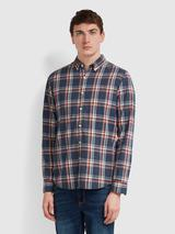 Steen Slim Fit Brushed Cotton Check Shirt In Farah Teal Marl in Blue