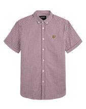 Short Sleeve Gingham Shirt in Red