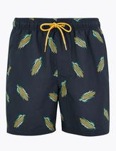 Quick Dry Corn Print Swim Shorts in Blue