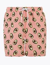 Quick Dry Avocado Print Swim Shorts in Pink